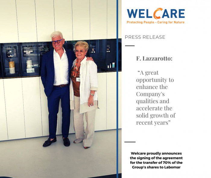 Welcare proudly announces the signing of the agreement for the transfer of 70% of the Group's shares to Labomar.